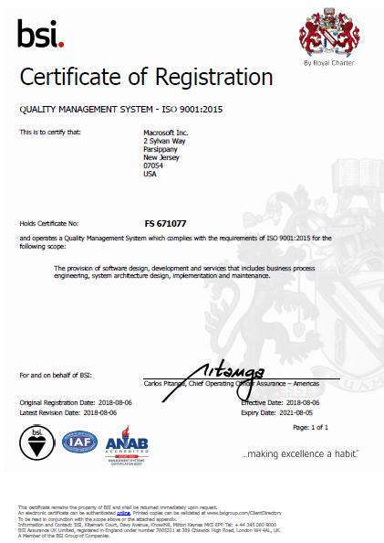 ISO 9001:2015 Quality Management Certificate - Macrosoft Inc