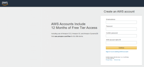 AWS Login Screen